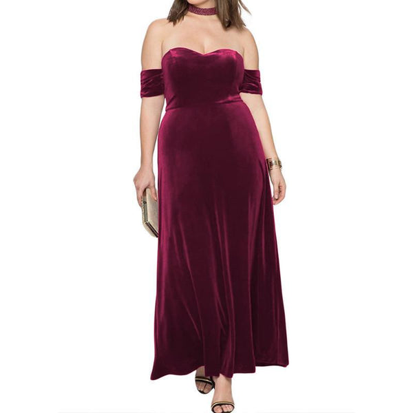 Sexy Pure Color Velvet Off Shoulder Dress