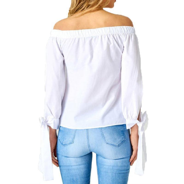 Casual Loose Plus Size Sexy Boat Neck Pure Color  Shirt