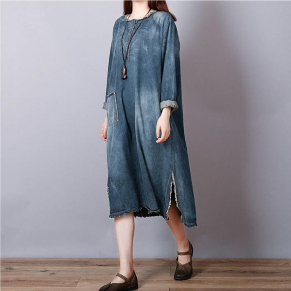 Casual Loose Plus Size   Long Sleeve Jeans Maxi Dresses