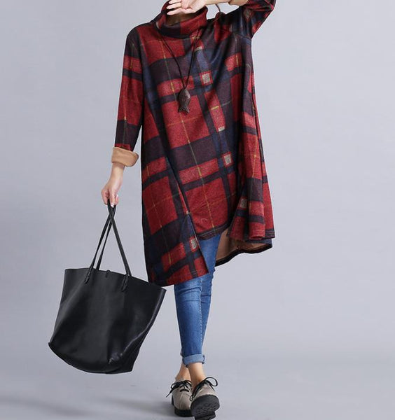 Casual Loose Plus Size   High Collar Woolen Plaid Casual Dresses