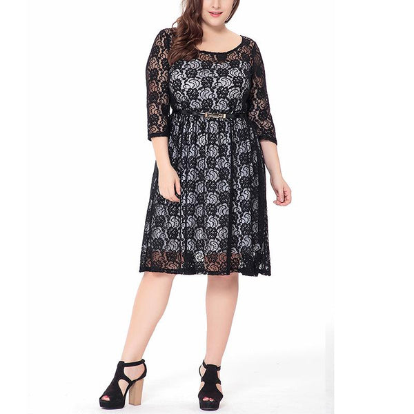 Casual Loose Plus Size   Sexy Hollow Out Lace Mini Dress