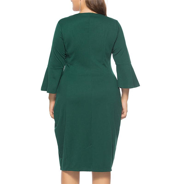 Plus-Size Horn Sleeve Bodycon Dress
