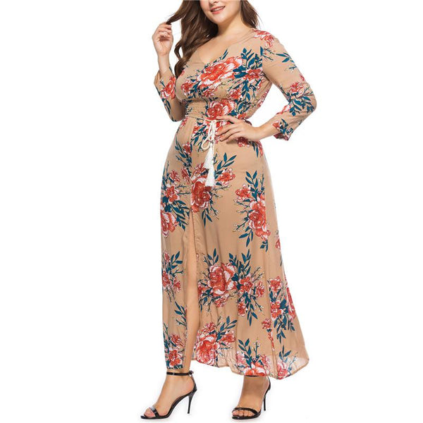 Plus-Size Sexy V-Collar Printed Dress
