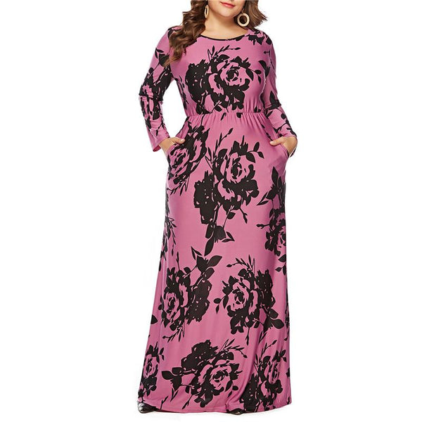 Plus-Size Long-Sleeved Printed Dress