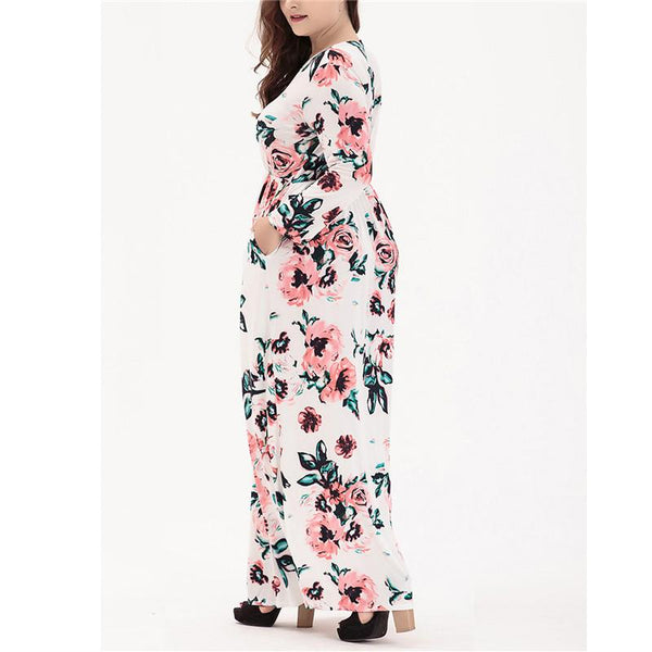 Plus-Size Long-Sleeved Printed Maxi Dress