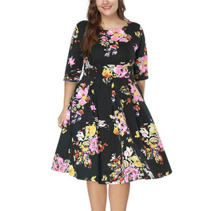 Plus-Size Round-Collar Printed Dress