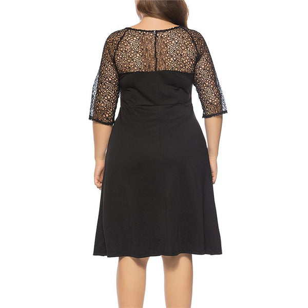 Plus-Size Seven-Sleeved Lace Stitching Dress