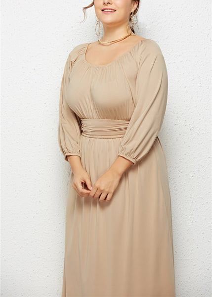 Casual Loose Plus Size   Slim Show Thin Long Sleeve Pure Color Maxi Dresses