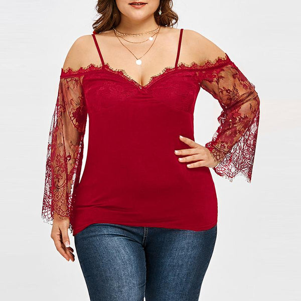 Casual Loose Plus Size   Sexy V Neck Off The Shoulder Lace Shirt