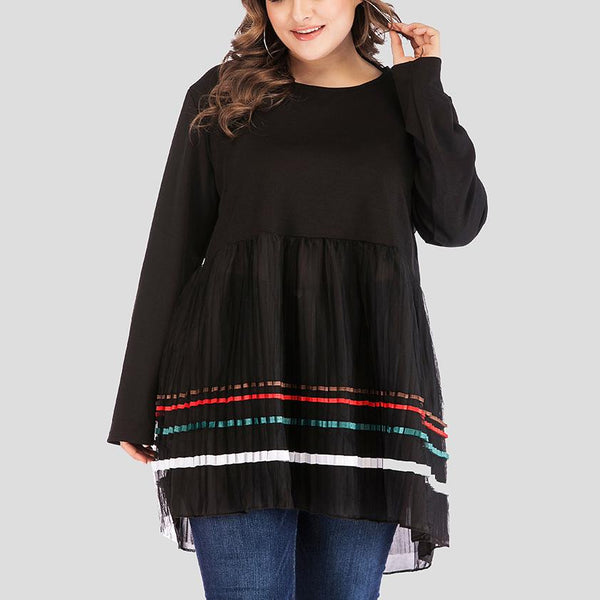 Loose Plus Size Fashion Long Sleeve Round Neck Pure Colour Dress