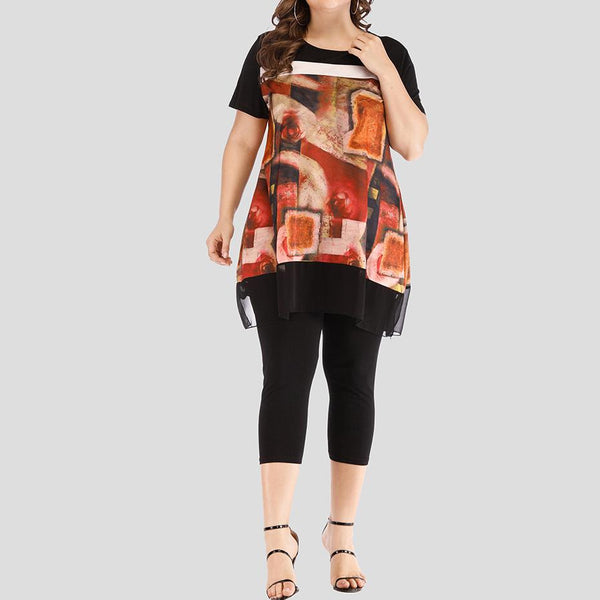 Loose Plus Size Round Neck Short Sleeve Printed Colour Two-Piece Set
