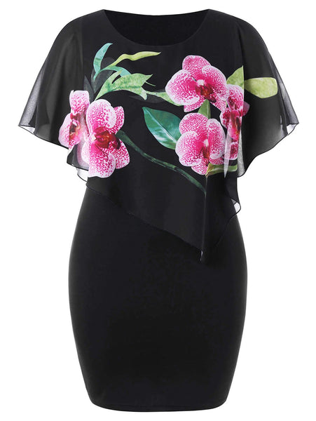 Casual Loose Plus Size   Floral Print Mini Bodycon Dresses