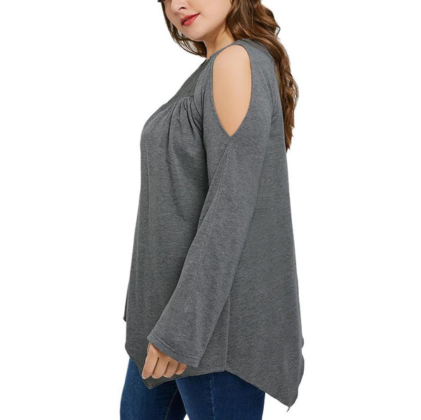 Casual Loose Plus Size   Sexy Off The Shoulder Lace Splicing T Shirt