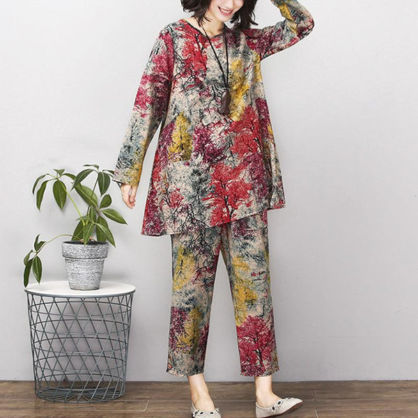 Fashion Casual Loose Plus Size Irregular T-Shirt Printed Colour Trousers Suit