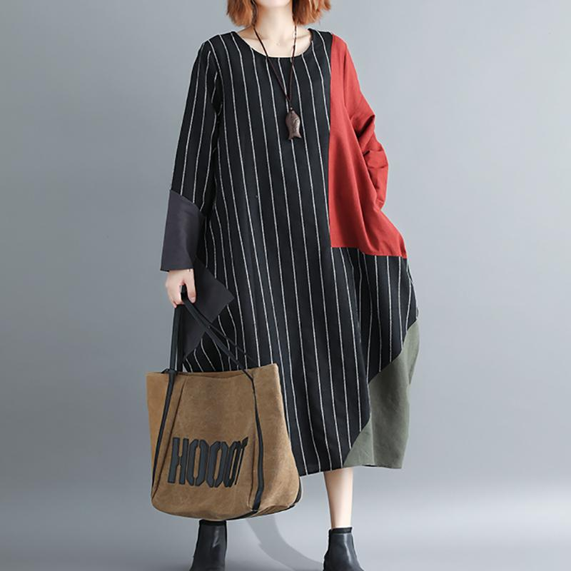Fashion Stripe Casual Loose Plus Size Splice Colour Dress