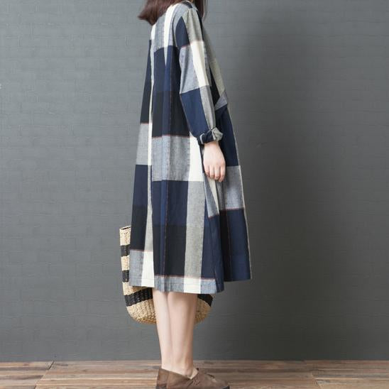 Fashion Casual Loose Plus Size Plaid Long Sleeve Comfortable Dress