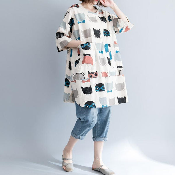 Fashion Loose Plus Size Printed Colour Halflong Sleeve Comfortable T-Shirt