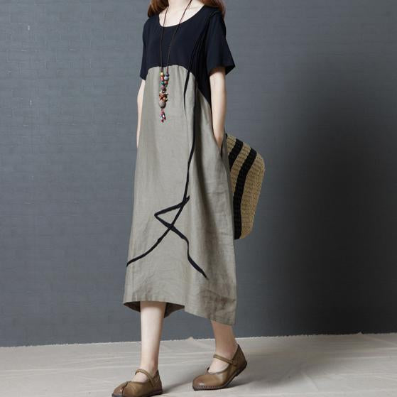 Fashion Loose Plus Size Casual Round Neck Pure Colour Short Sleeve Midi Dress