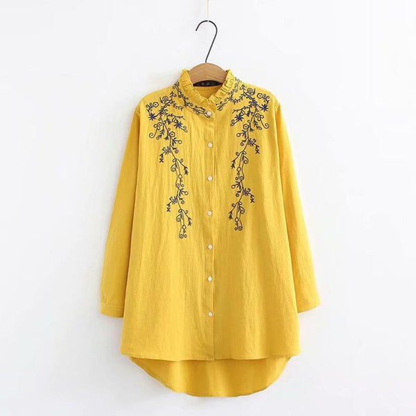 Loose Plus Size Fashion Pure Colour Long Sleeve Inwrought Shirt