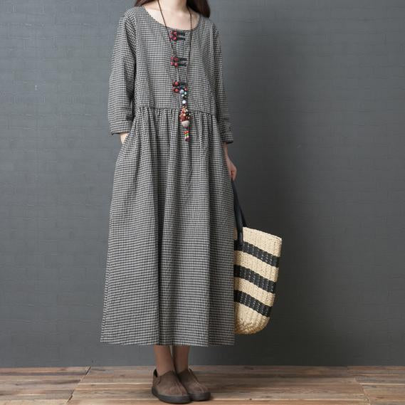 Casual Loose Plus Size Fashion Comfortable Long Sleeve Plaid Dress