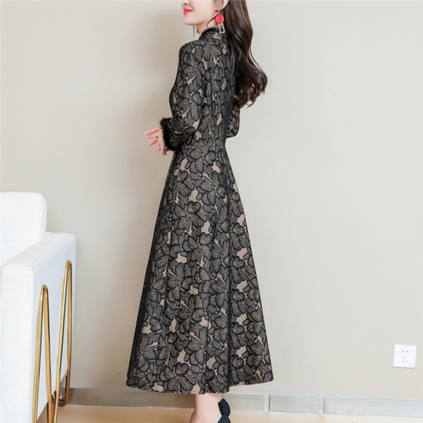 Plus-size fashion vintage pure color lace dress