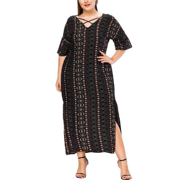 Casual Loose Plus Size Comfortable V Neck Stripe Dress