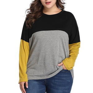 Casual Loose Plus Size Comfortable Round Neck Long Sleeve Splice Pure Colorblock T-Shirt