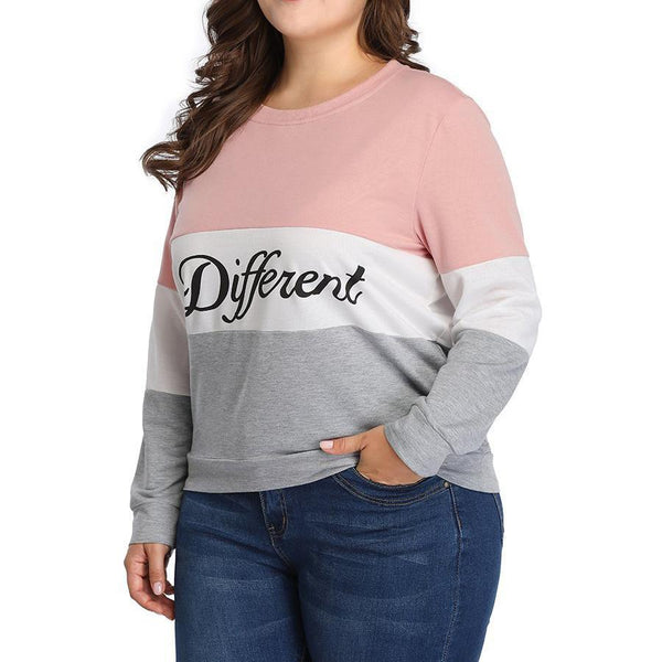Casual Loose Plus Size Splice Fashion Printed Colour Long Sleeve T-Shirt