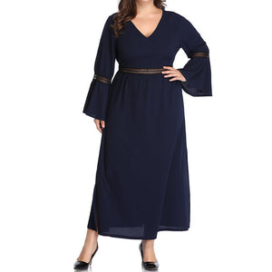 Casual Loose Plus Size Sexy V Neck Fashion Pure Colour Long Sleeve Dress