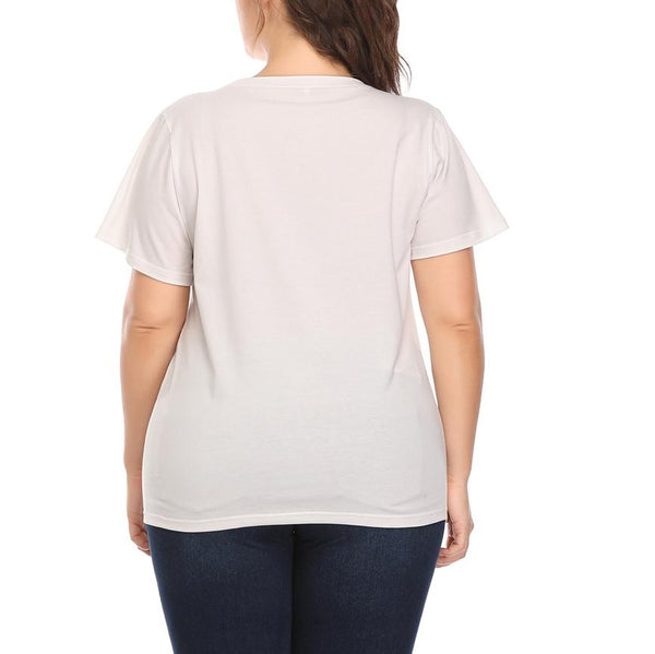 Casual Loose Plus Size Round Neck Comfortable Printed Colourt-Shirt