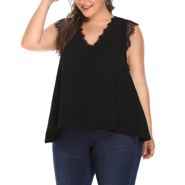 Casual Loose Plus Size V Neck Sleeveless Comfortable Chiffon Printed Colour T-Shirt