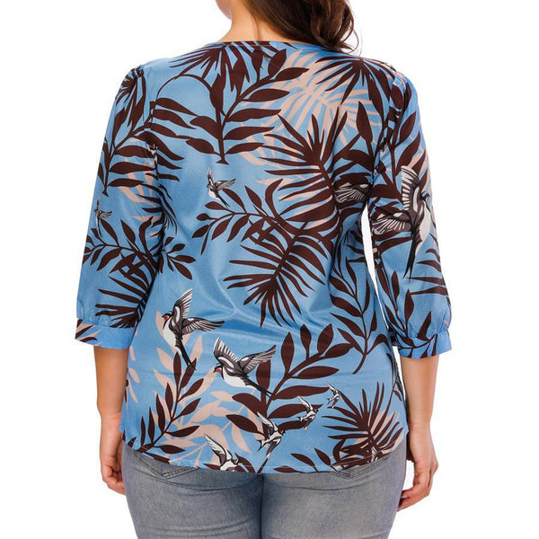 Casual Loose Plus Size Round Neck Comfortable Printed Colour T-Shirt