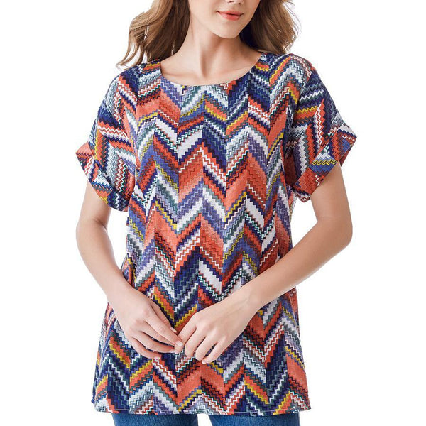 Casual Loose Plus Size Round Neck Short Sleeve Comfortable Printed Colour T-Shirt