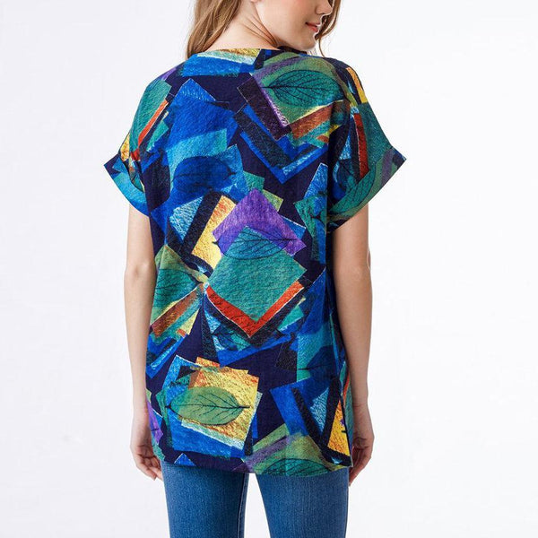 Loose Plus Size Round Neck Short Sleeve Comfortable Printed Colour T-Shirt