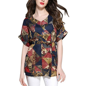 Sexy Loose Plus Size V Neck Short Sleeve Comfortable Printed Colour T-Shirt