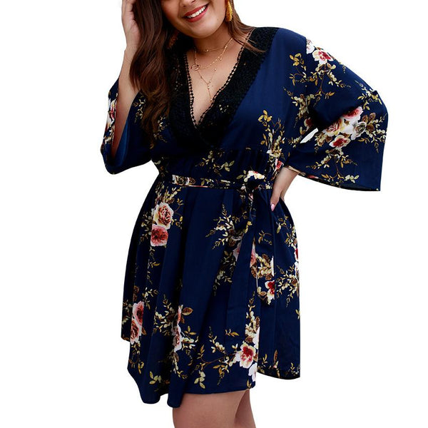 Sexy V Neck Loose Plus Comfortable Printed Colour Mini Dress