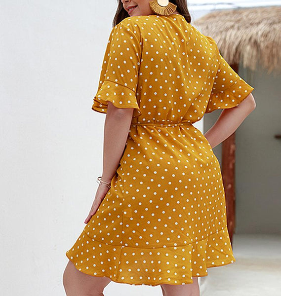 Sexy V Neck Loose Plus Comfortable Polka Dot Printed Colour Dress