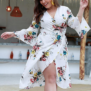 Sexy V Neck Loose Plus Comfortable Printed Colour Long Sleeve Mini Dress