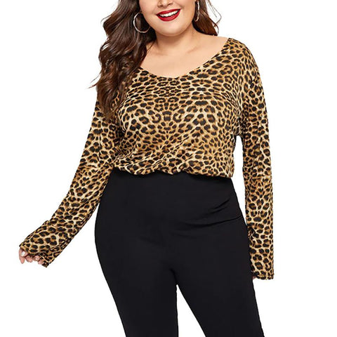 Sexy Loose Plus Round Neck Fashion Comfortable Leopard Print Long Sleeve T-Shirt