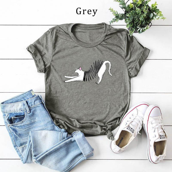 Casual Creative Printed Colour Comfortable Pure Colour Short Sleeve T-Shirt
