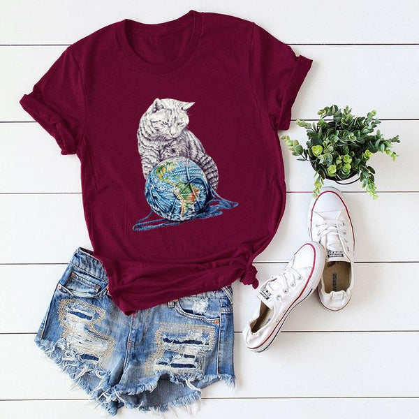 Fashion Round Neck Printed Colour Comfortable Pure Colour Short Sleeve T-Shirt