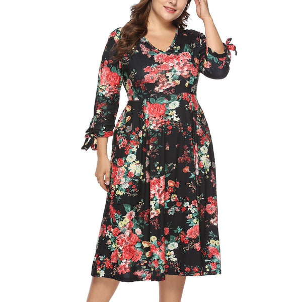 Loose Plus Size Printed Colour Sexy V Neck Long Sleeve Fashion Mini Dress