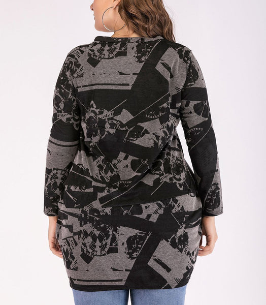 Fashion Loose Plus Size Printed Colour Sexy Long Sleeve T-Shirt