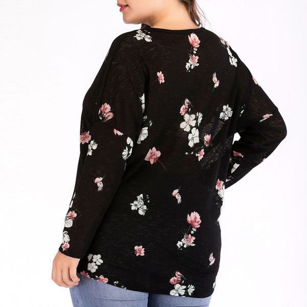Loose Plus Size Printed Colour Sexy Long Sleeve T-Shirt