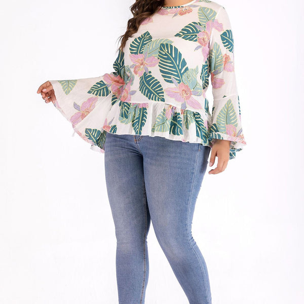 Fashion Loose Plus Size Round Neck Printed Colour Sexy Long Sleeve T-Shirt