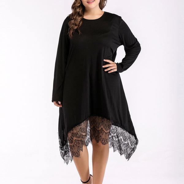 Fashion Loose Plus Size Round Neck Pure Colour Long Sleeve Lace Dress