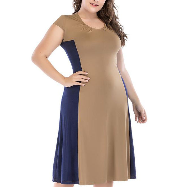 Fashion Loose Plus Size Contrast Color Round Neck Short Sleeve Dress