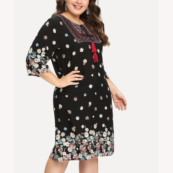 Sexy Fashion Loose Plus Size Splice Printed Colour Dress