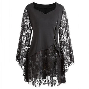 Sexy Fashion Loose Plus Size Lace Hollow Out Bell Sleeve Dress