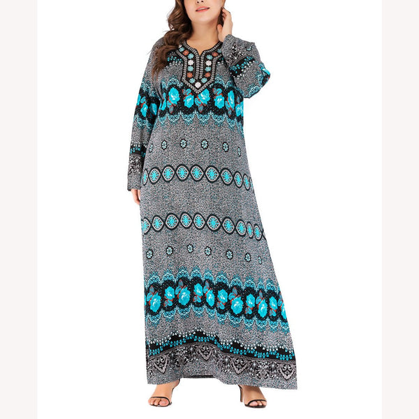 Sexy Fashion Loose Plus Size Printed Colour Long Sleeve Round Neck Maxi Dress